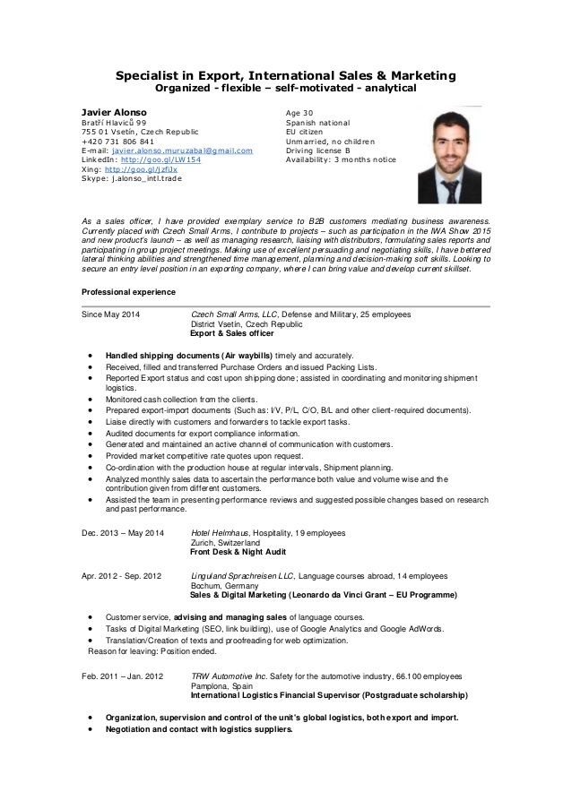 export sales manager resume samples
