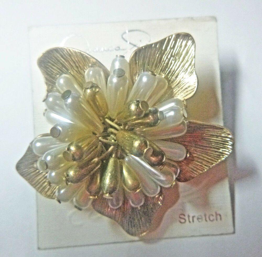 Jessica simpson ring matte finish huge flower expandable