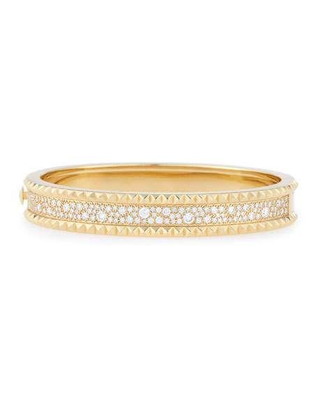 Roberto Coin ROCK & DIAMONDS Wide 18K Yellow Gold Bangle Bracelet zRq9L