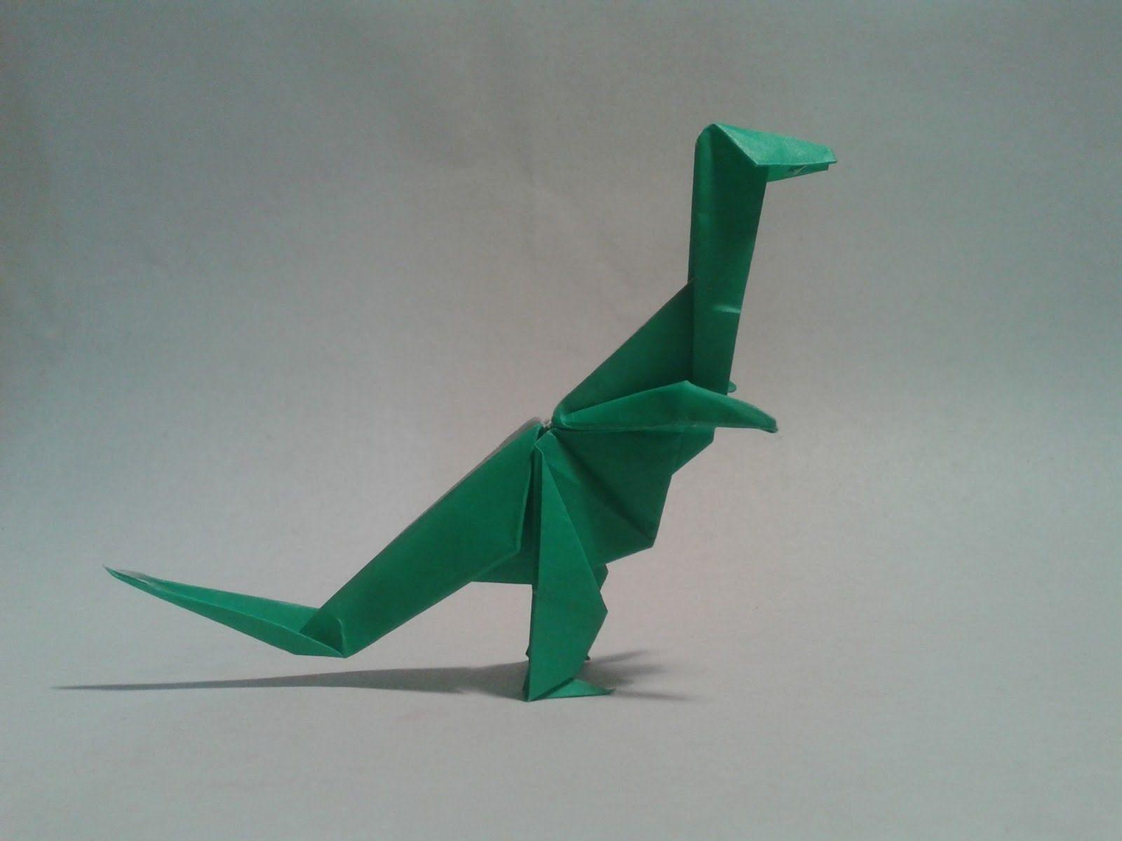 Como hacer un dinosaurio de papel TREX origami dinosaur