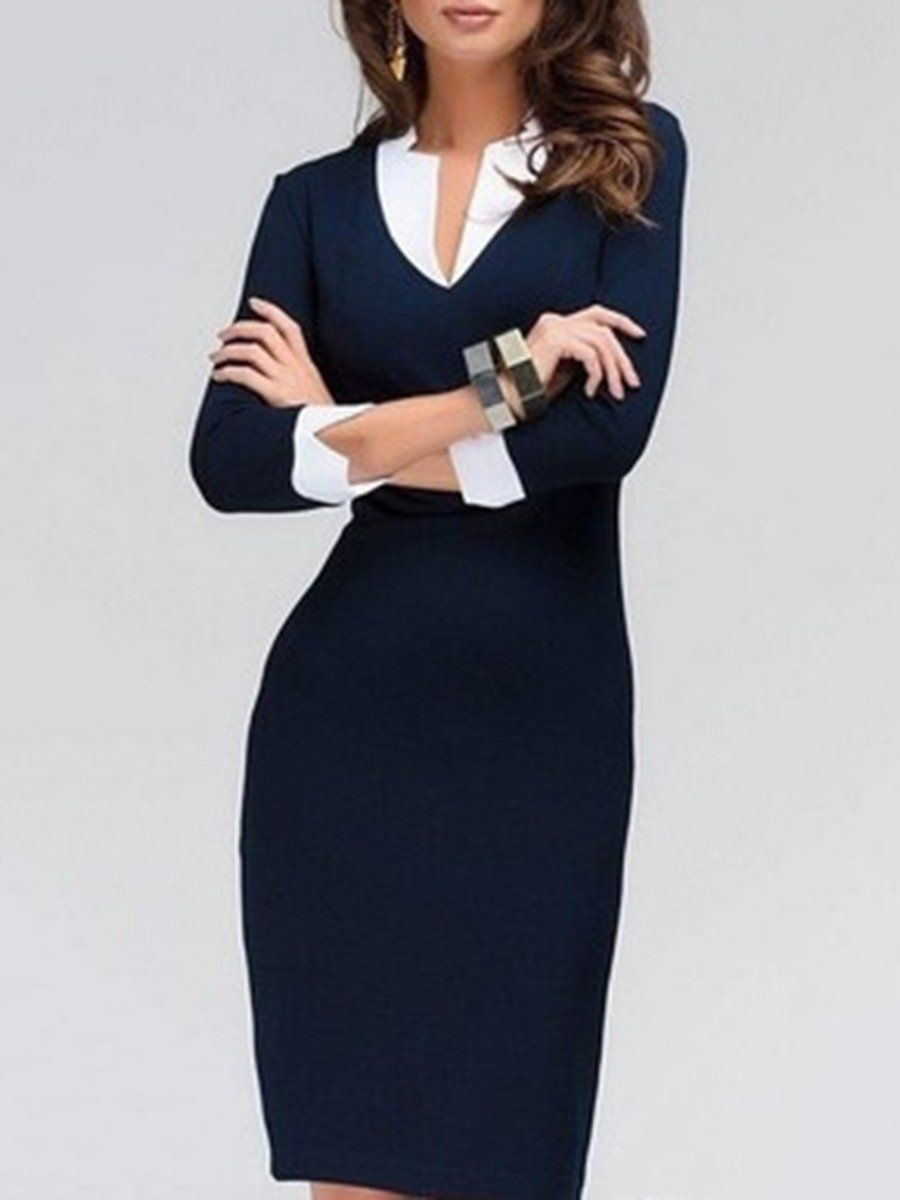 c2a72fc76c30 Fold-Over Collar Plain Blend Bodycon Dresses #dressescasual #dresses  #bodycondress #bodycon #bodycondressforwork