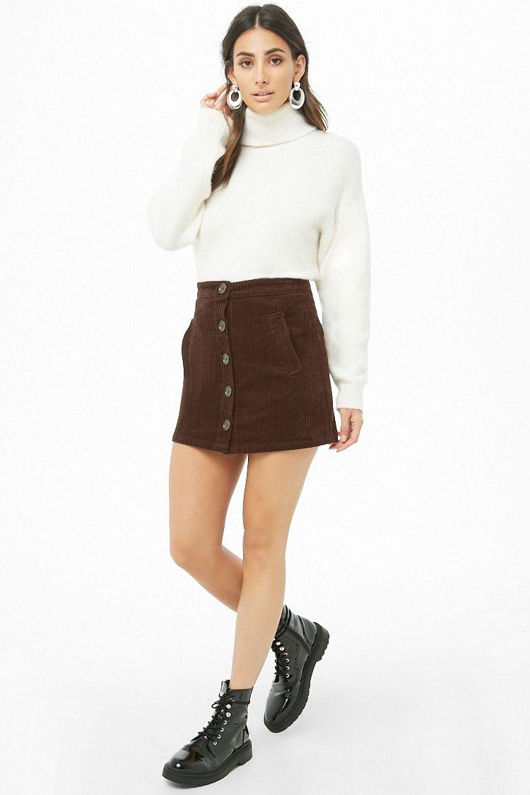 f4d93e0ebe Button-Front Corduroy Mini Skirt
