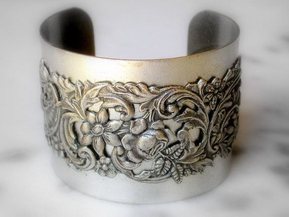 Victorian Silver Floral Band on Silver Cuff