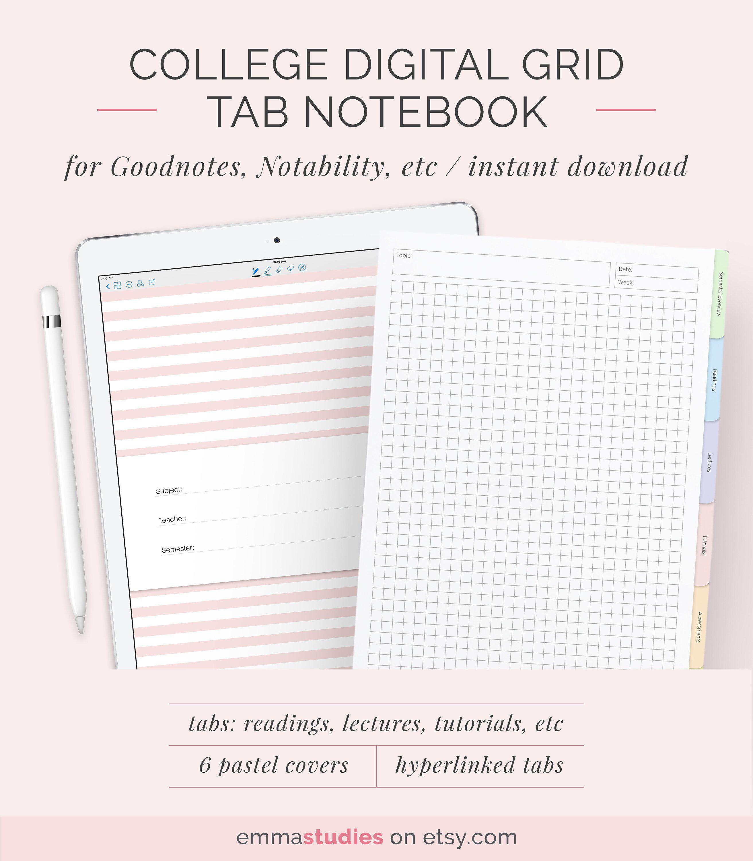Digital 6 tab grid student notebook template digital graph square digital 6 tab grid student notebook template digital graph square customisable notebook ipad tablet maxwellsz
