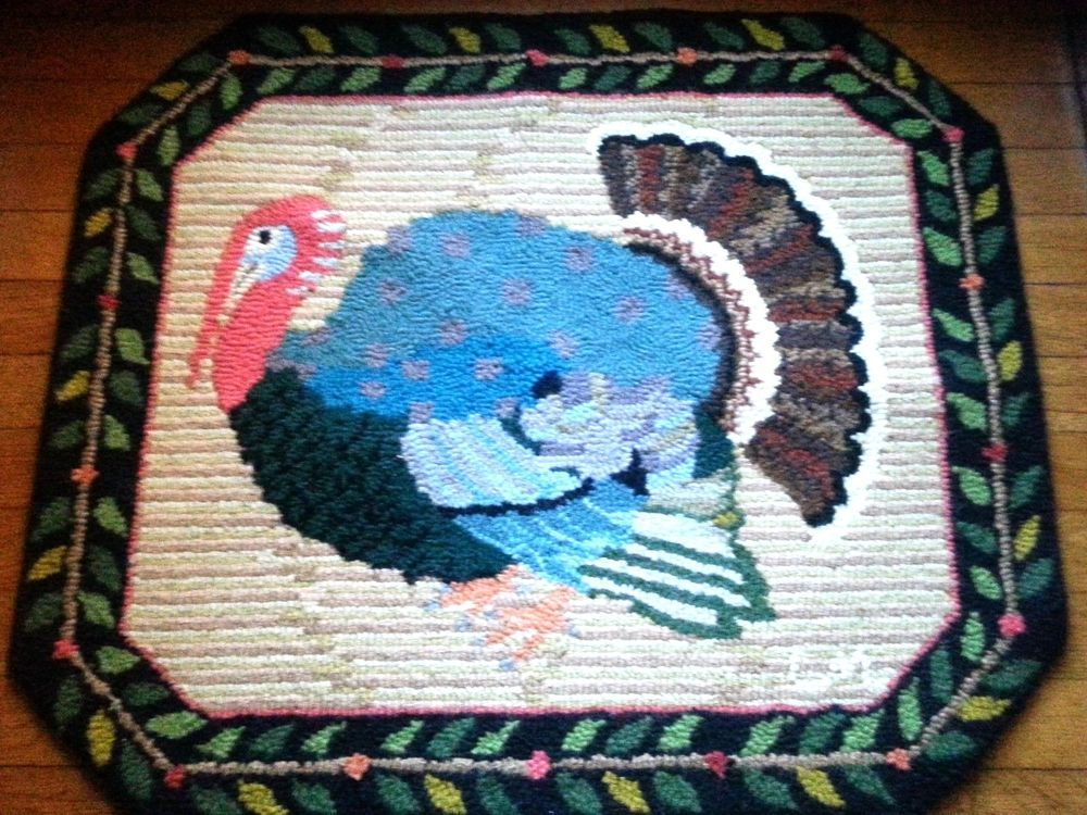 Claire Murray Design Retired Gobbler Thanksgiving Turkey Holiday Hooked Rug