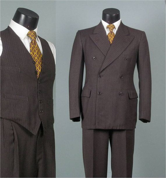 Vintage 1940s Mens Suit -- Navy Chalk Pinstripe 6 x 2 Double ...