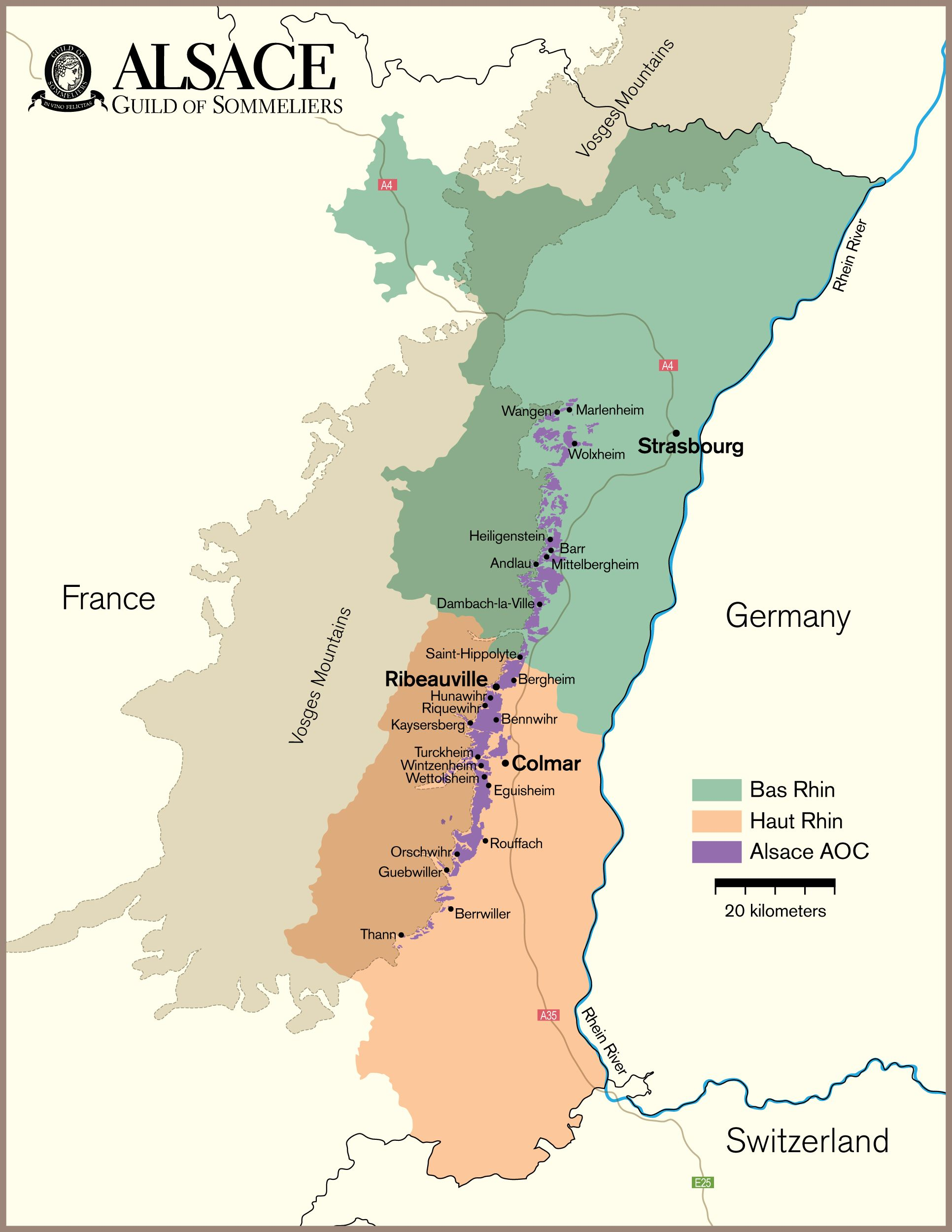 A4 Map Of France.Alsace Vineyard Map Wine Vino Alsace Wine Guide French Wine