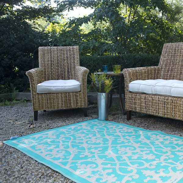 Cream, Turquoise, Plastic Outdoor Rug, Patio Rug, Indoor Outdoor Rug    HomeInfatuation