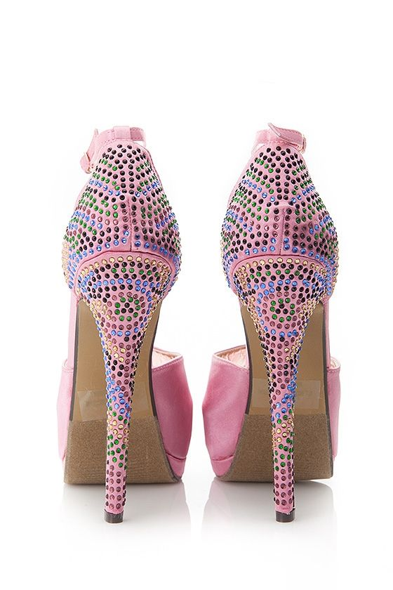 7e4a69f00fb9 Baby pink Diamond bedazzled high heel shoes stilettos