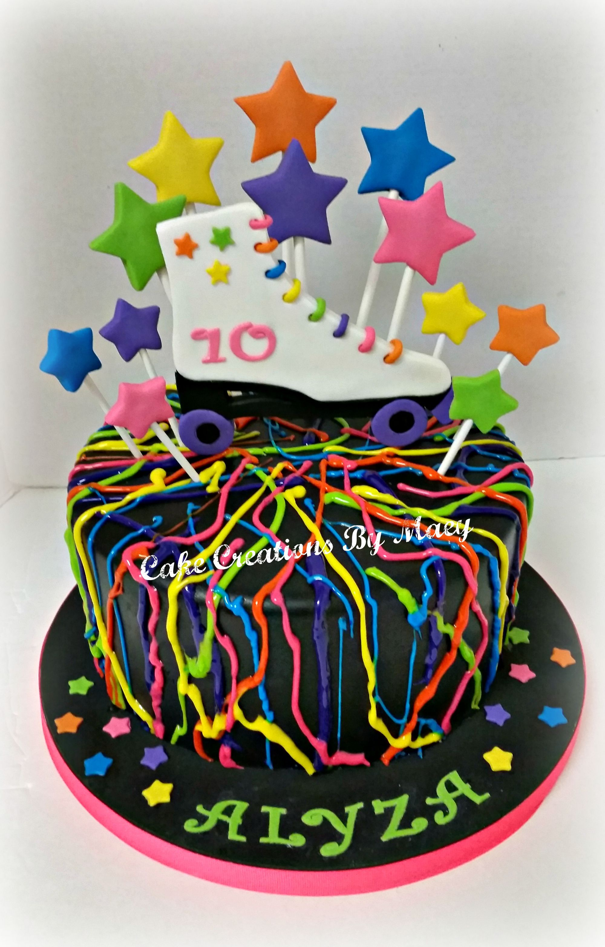 Incredible Neon Splatter Cake Roller Skate Cake Birthday Cake Girls Party Birthday Cards Printable Giouspongecafe Filternl