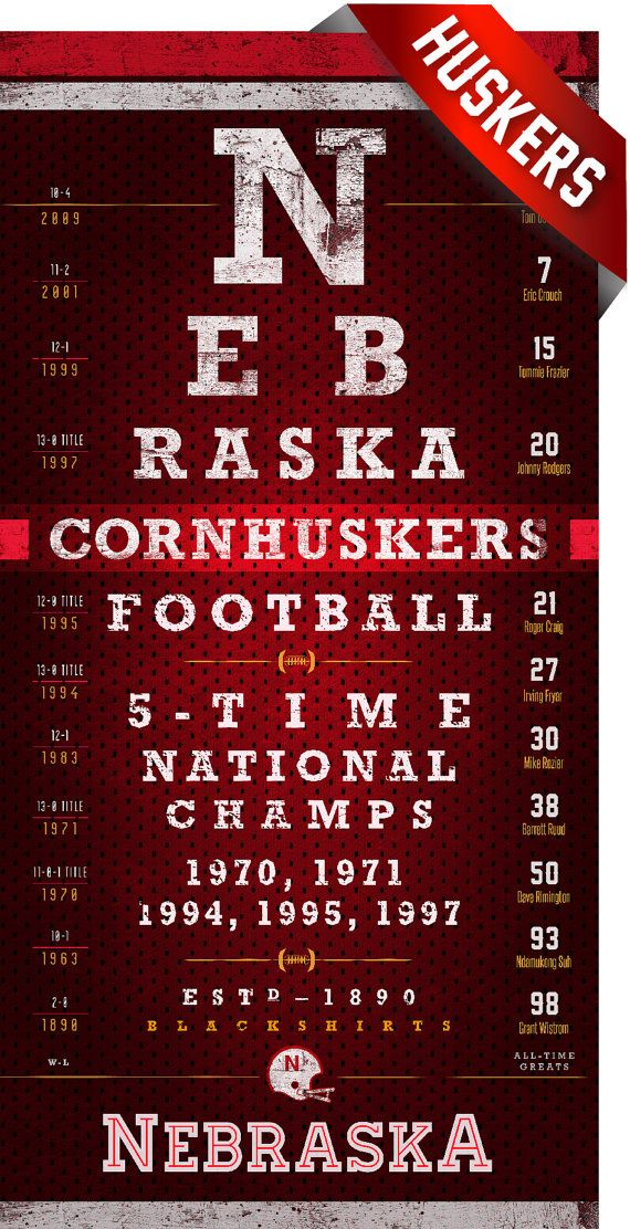 Nebraska Cornhuskers Eye Chart Perfect Birthday By Retroleague 24 50 Cornhuskers Nebraska Huskers Football Nebraska