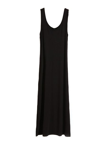 Basic All-match Cotton Long Vest Dress In Black