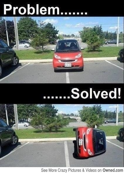 Smart Car Two Parking Spots No Problem Funny Pictures Bad Parking Jokes