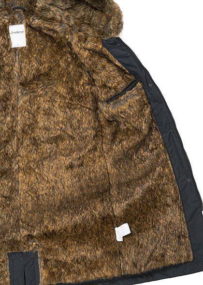 Seventyseven Damen Winter Mantel Jacke Kapuze Kunstfell 5