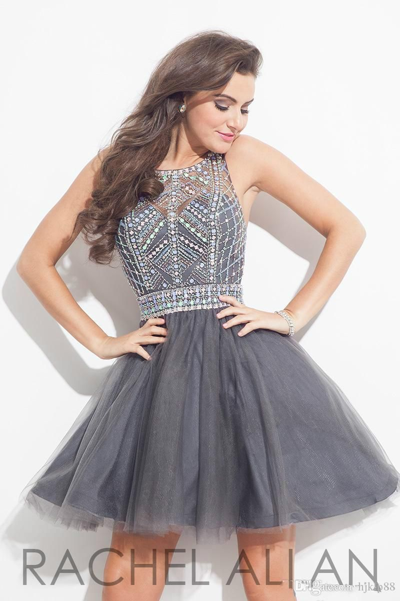 Cheap Elegant Grey Crystal 2016 Homecoming Dresses Backless Sexy ...