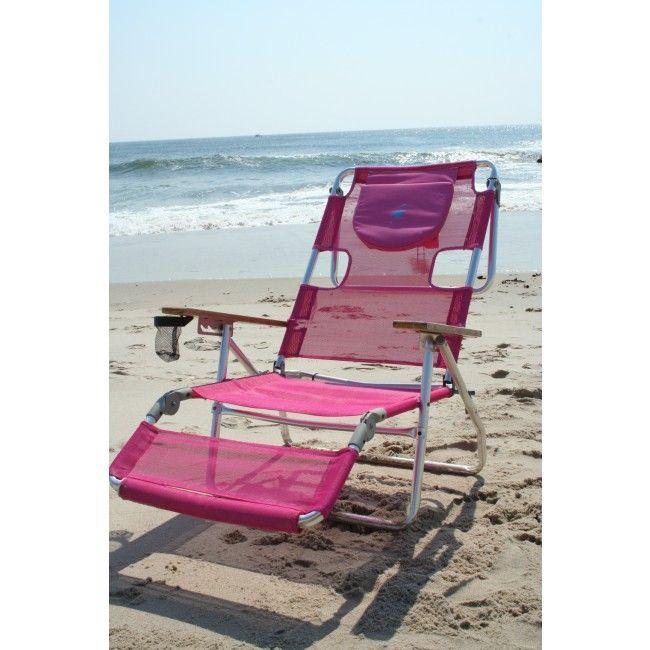 Ostrich 3N1 Beach Chair   Pink  Lay Flat...sit Up.