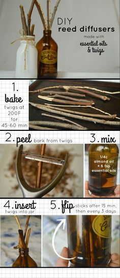 DIY Reed Diffusers to use with Essential Oils! Keep your home smelling wonderful…