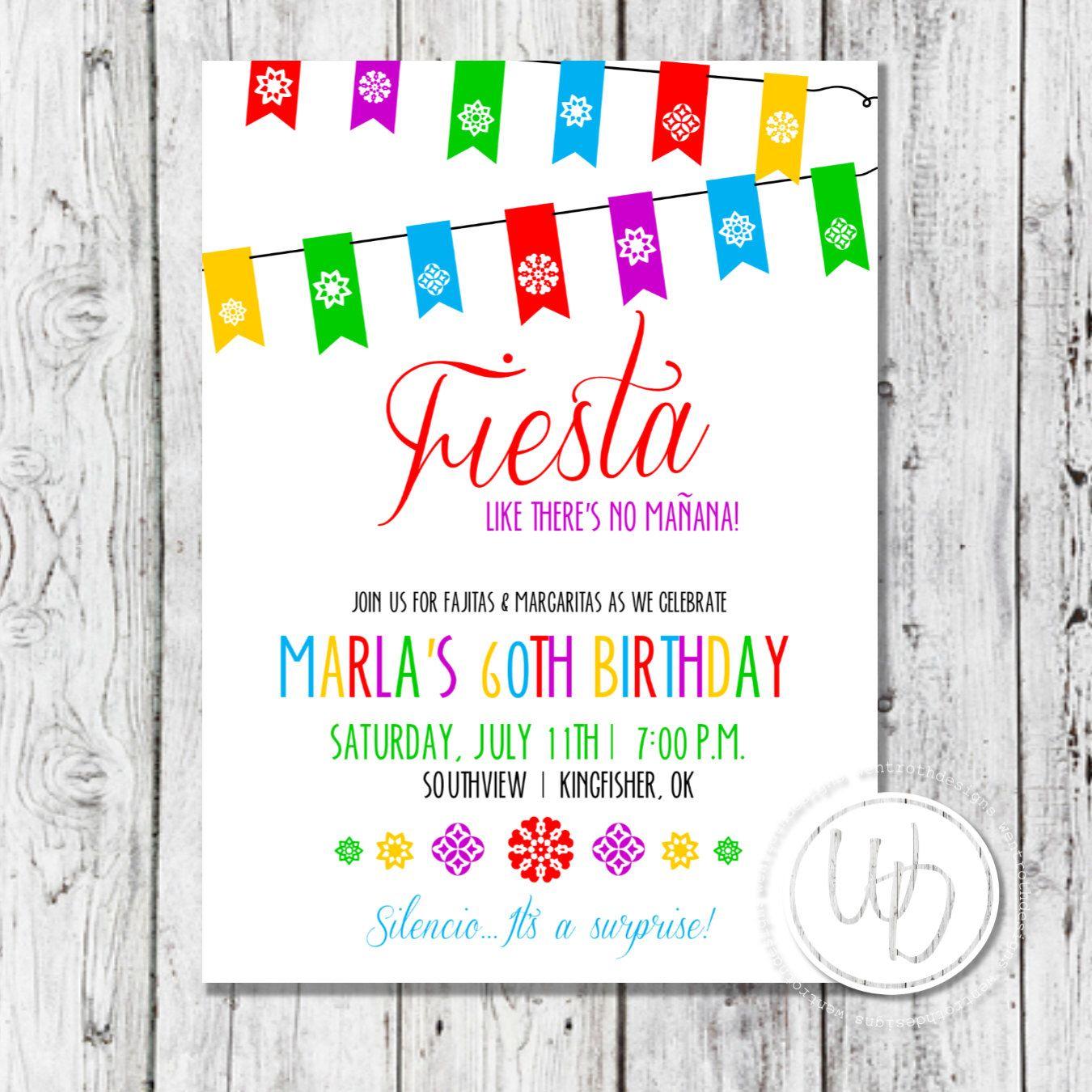 Fiesta Birthday Invitation, Mexican Birthday Invitation, Margarita ...