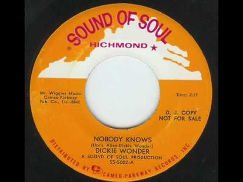 Dickie Wonder Nobody Knows Youtube Soul Music Northern Soul Wonder