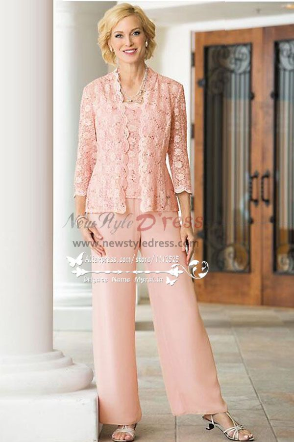 3PC Pink lace Trousers set Mother of the bride pant suits dresses ...