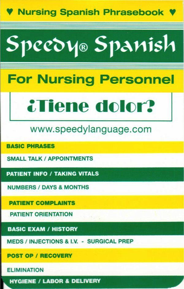 Speedy Spanish For Nursing Personnel How To Speak Spanish