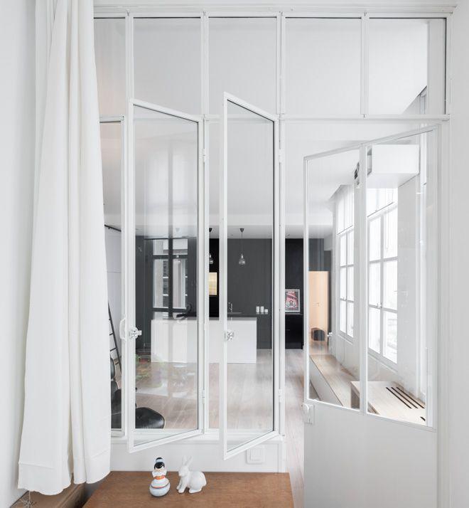 white steel doors