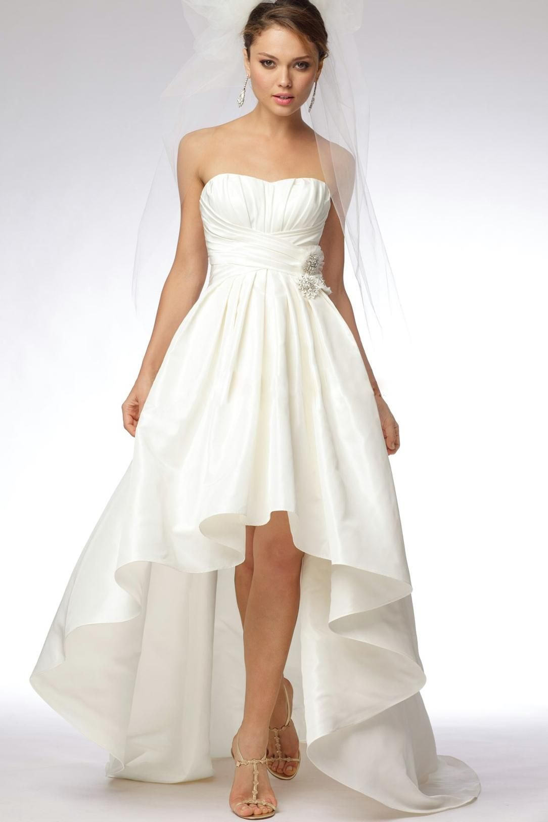 Alineprincess strapless court taffeta bridal gowns orvztoe