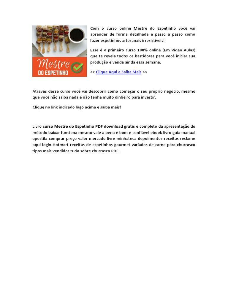 Pin De Marketing Online Em Marketing Digital Mestre Espetinho