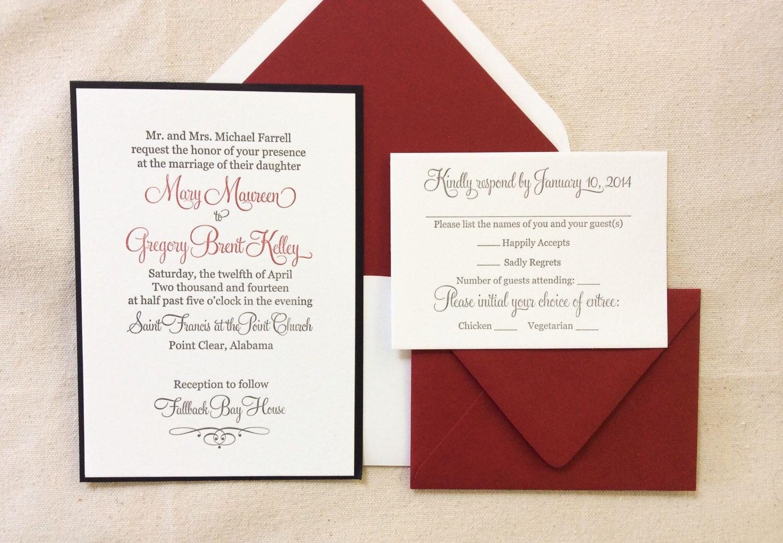 The Red Rose Suite - Classic Letterpress Wedding Invitation Suite ...