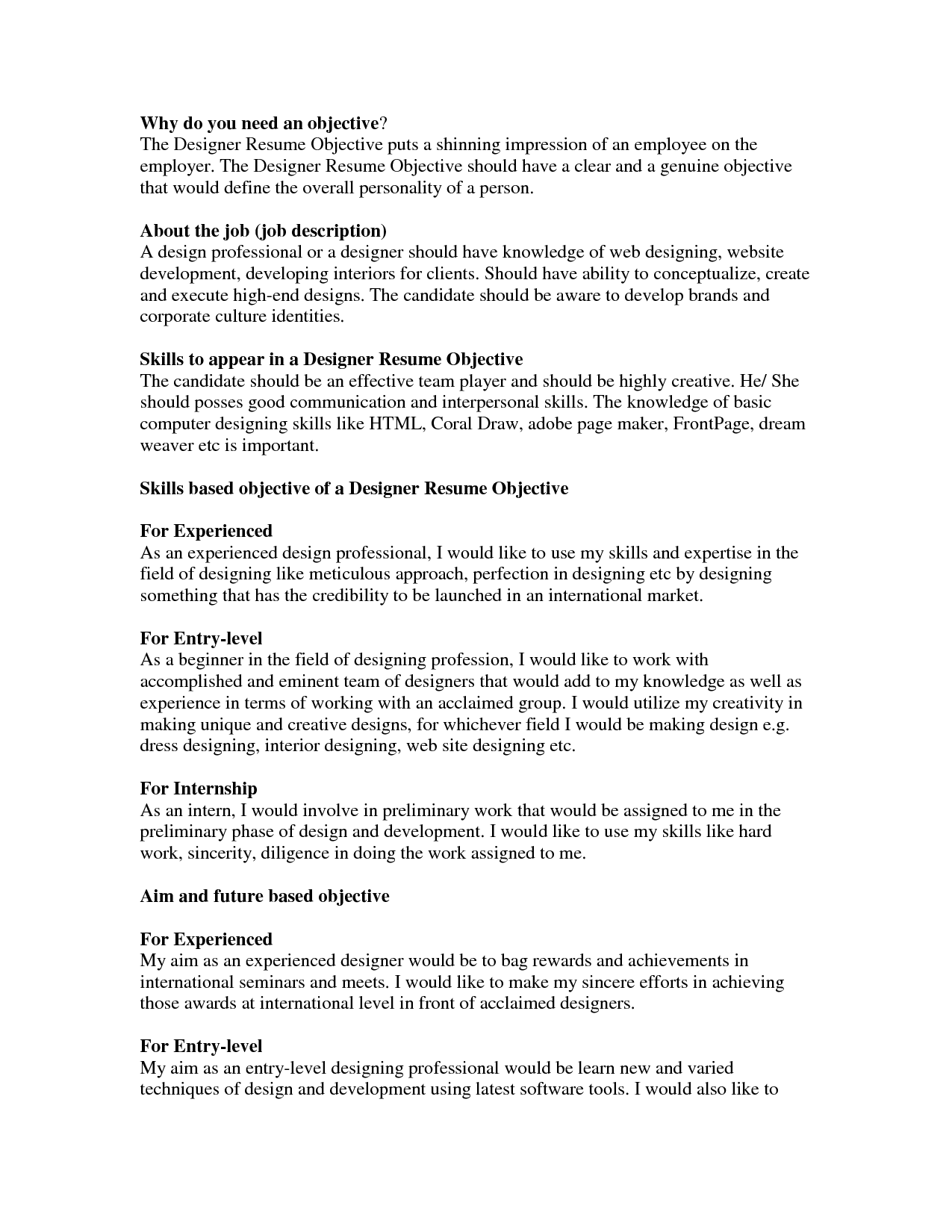 Sample Objectives For Resume Good Objective For Resumes Template Awesome Resume Objectives