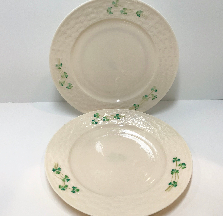 Set Of 2 Belleek Plates Belleek Dinner Plates Shamrock Ware Plates Belleek Shamrock Ware Belleek China Belleek Porcelain Plates Belleek Belleek China