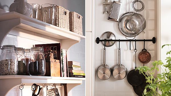Curtain Rods With Hooks Make Great Wall Storage For Not Just Pots And Pans But Other Kitchen Uten Small Country Kitchens Country Kitchen Small Kitchen Storage