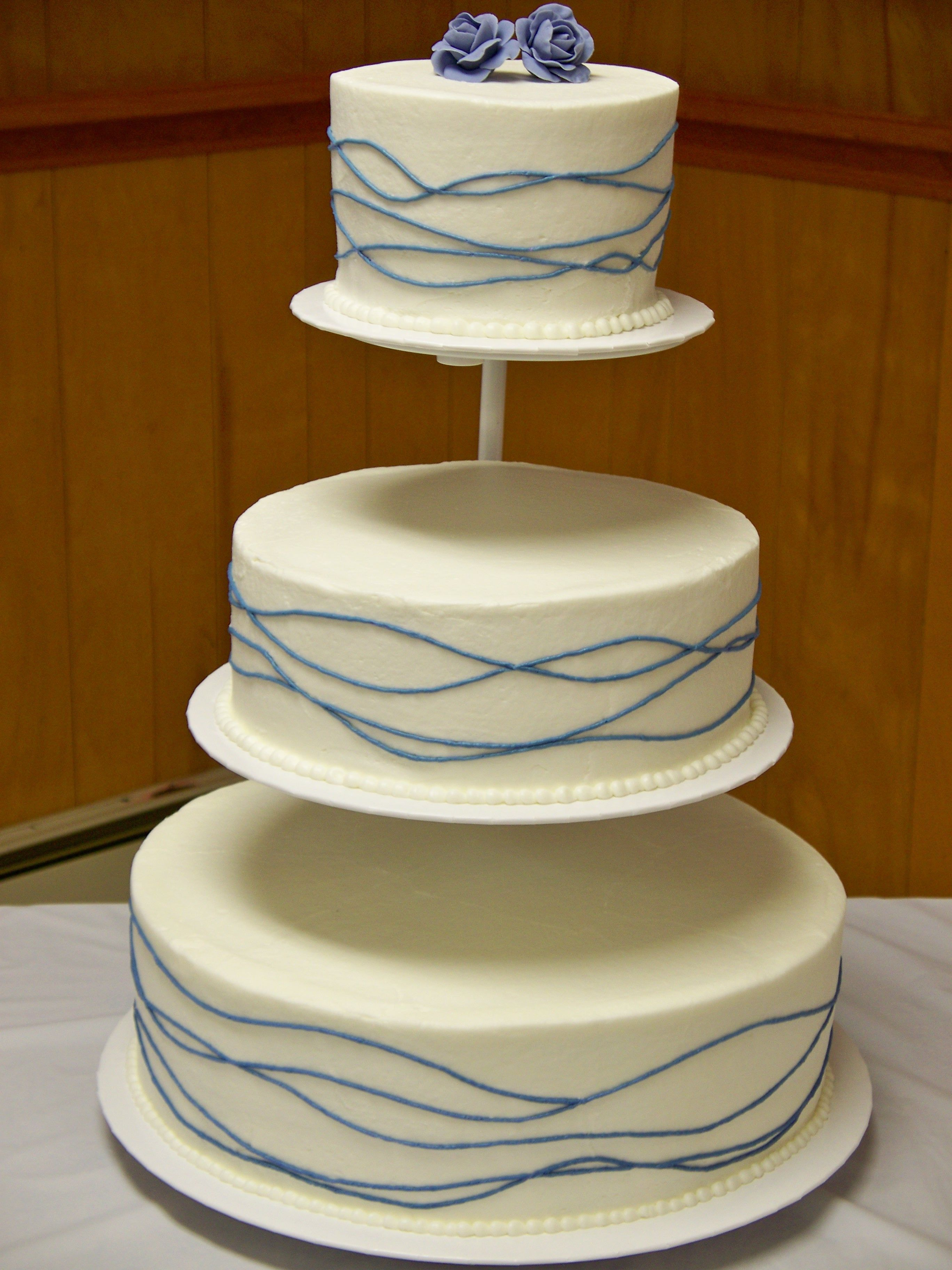 Floating Cake Stand Cakes Periwinkle Waves Wedding Round