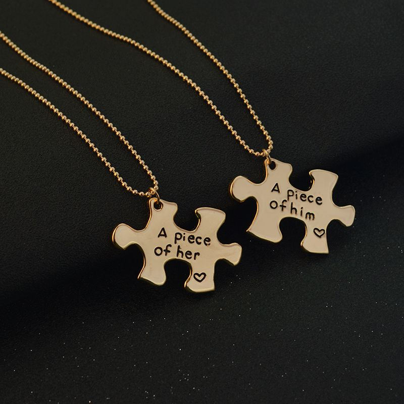 A Piece Of Her A Piece Of Him Puzzle Couple Necklace Gold Necklaces Necklace Couplenecklac Cute Couple Necklaces Couple Necklaces Necklace For Girlfriend