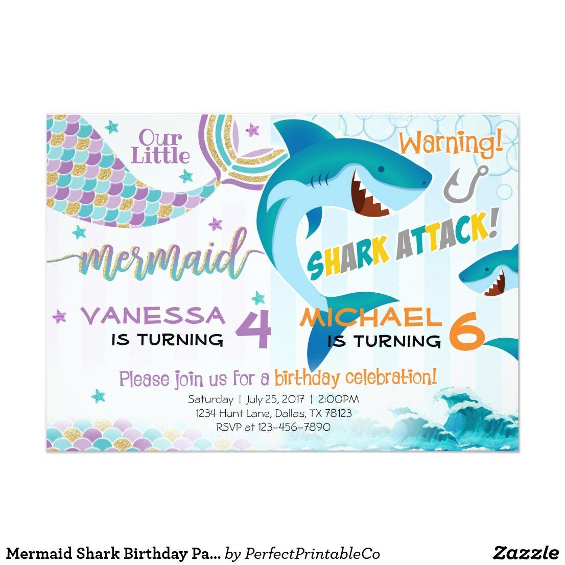 Mermaid Shark Birthday Party Invitation Siblings | Ayla & juan bday ...