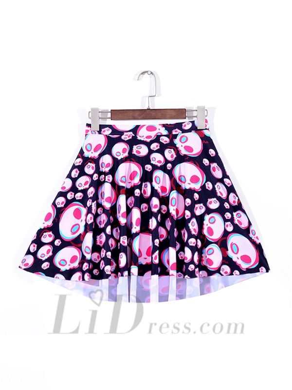 Gifts Best Selling Womens Fan Series With Digital Printing Colorful Skull Pleated Skirts Skt1120