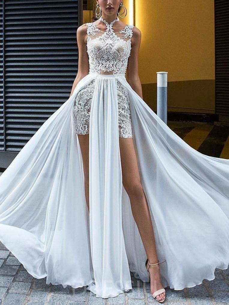 Floor Length A Line Lace Sleeveless Beach Wedding Dress In 2019