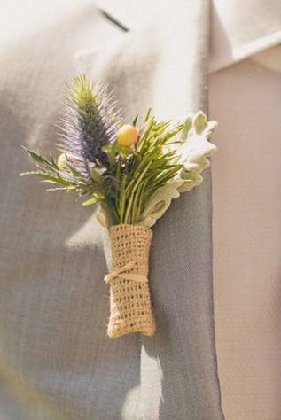 Burlap Wedding Boutonniere