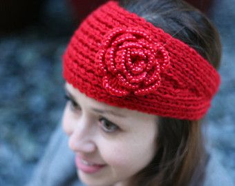 Red Women's Winter Head Band with Pearl Flower (Knitted Crochet Ear Warmer Winter Hair Bands Wide Headband, Fall)