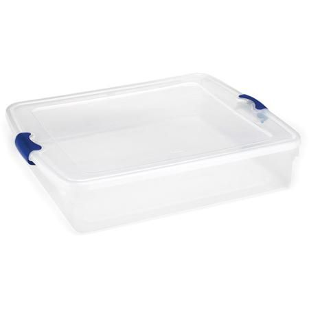 Homz 56 Qt Plastic Storage Latching Tote Clear Blue Set Of 4 Walmart Com Plastic Box Storage Plastic Storage Plastic Storage Bins