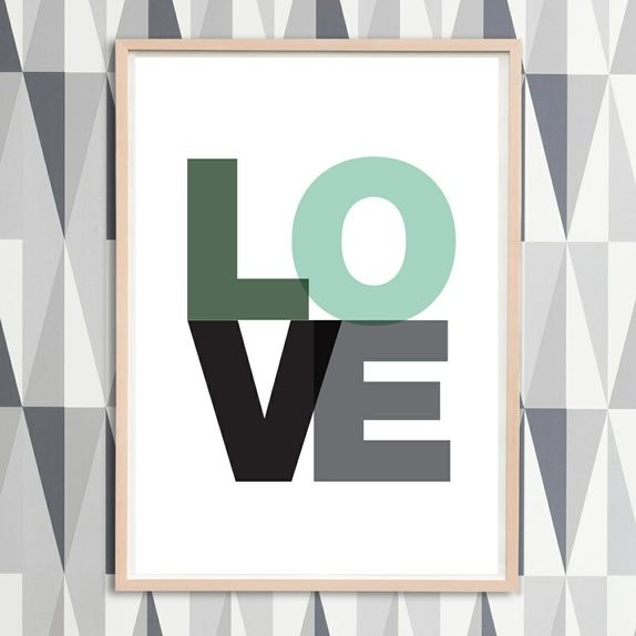LOVE - plakat (A4 og A3) Flere farger!