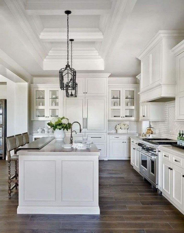 41 Comfy White Kitchen Dark Floors Ideas Farmhouse Kitchen