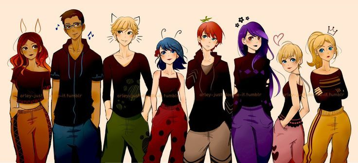 Photo of Everyone in street clothes (Miraculous Ladybug, Alya, Nino, Adrien, Marinette, Na …