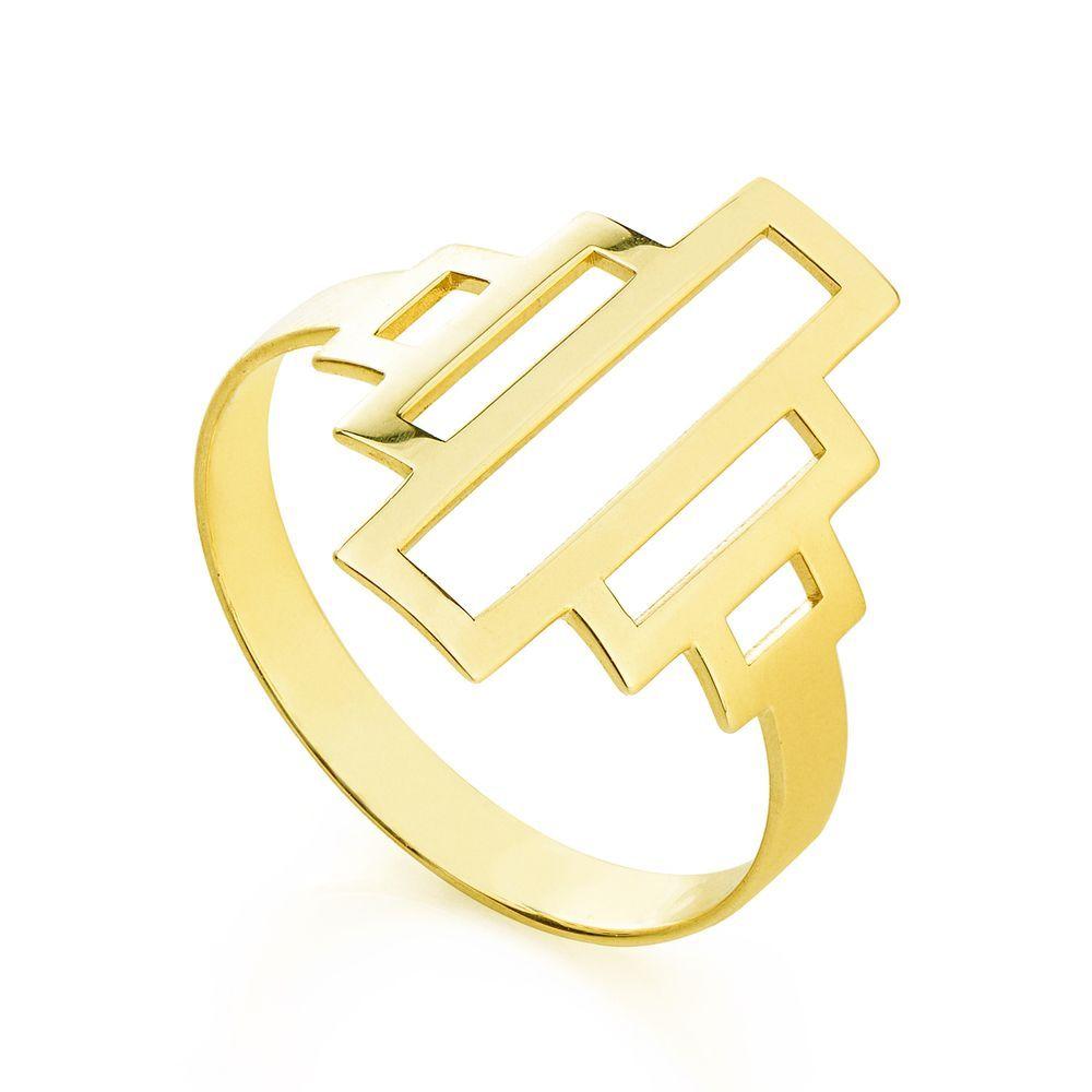 89441aade8e8f Anel em Ouro 18k Retângulos Vazados.  ouro  jewelry  fashion ...