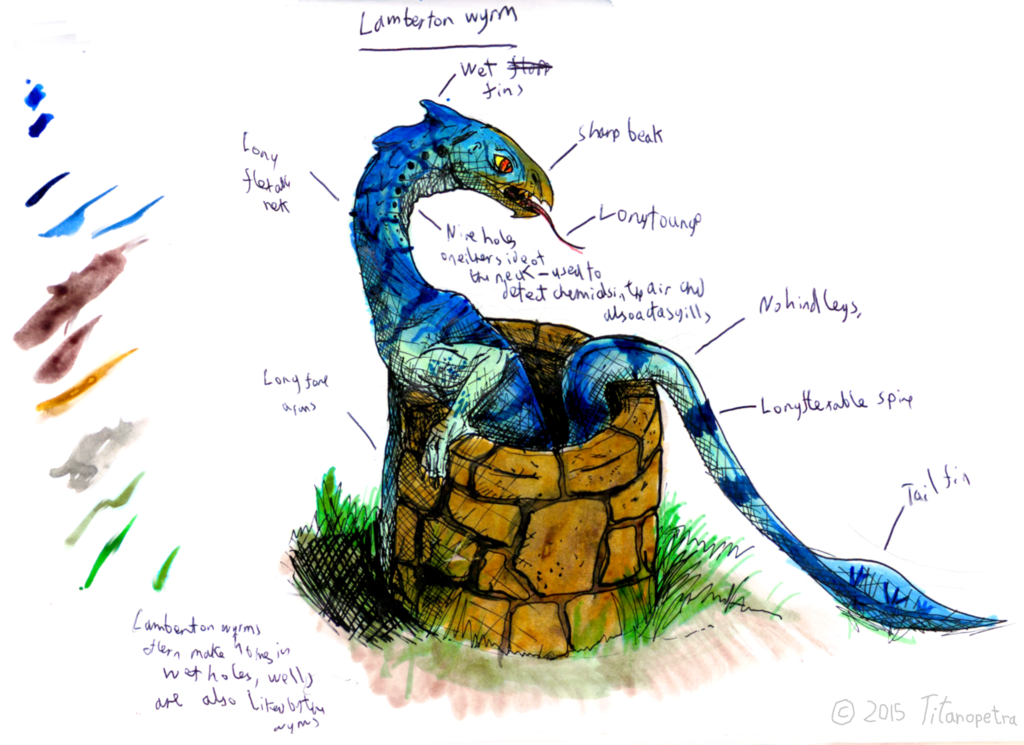 lambton wyrm annotated sketch by titanopetra drawing