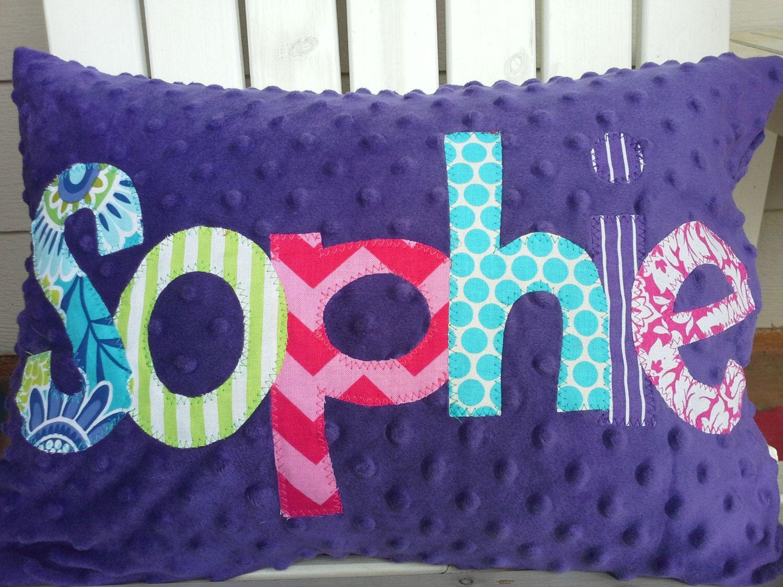 Etsy Throw Pillows Personalized Applique Name Pillow Minky Name Throw Pillow Kids