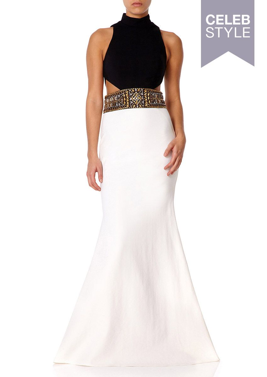 Sabrina black and ivory fishtail maxi dress with high neck high