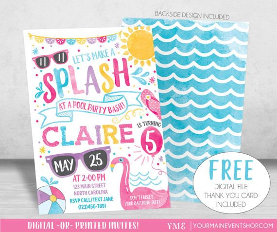 Pool Party Invitation, Pool Party Birthday Invite, Summer Pool - pool party invitation