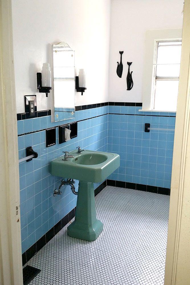 Laura Tim S Beautiful Blue Bathroom Remodel Retro Bathrooms