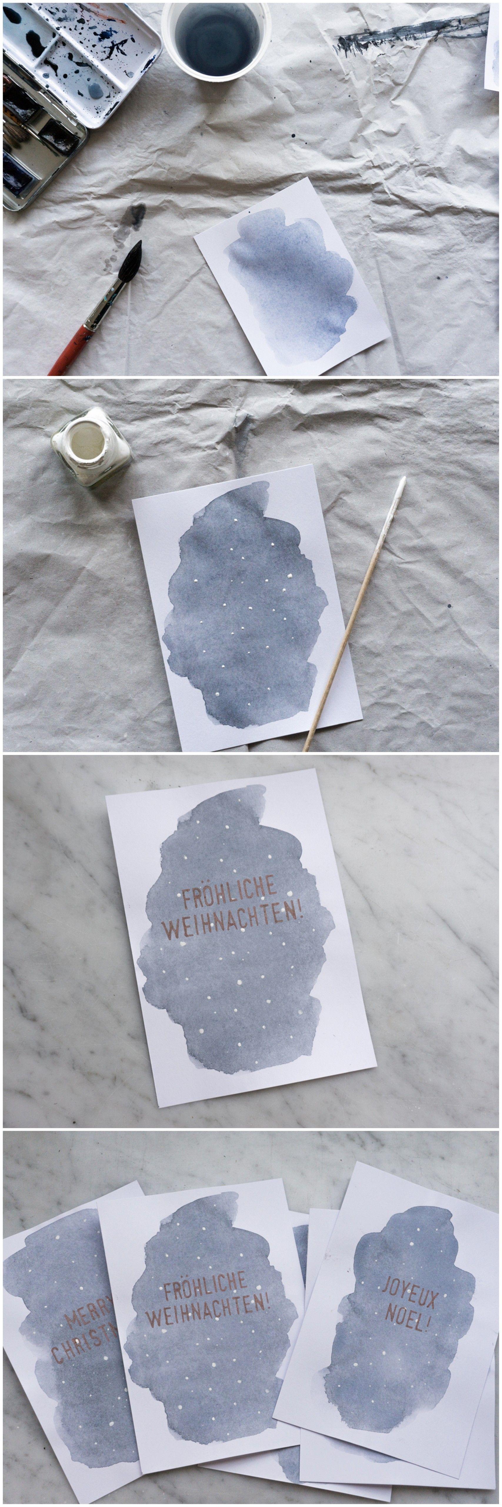 Aquarell Weihnachtskarten basteln | Pinterest | Weihnachten ...